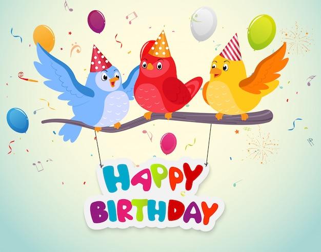 Festa di compleanno con uccelli carini
