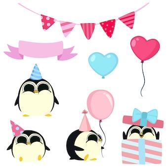 Festa di compleanno di pinguini kawaii