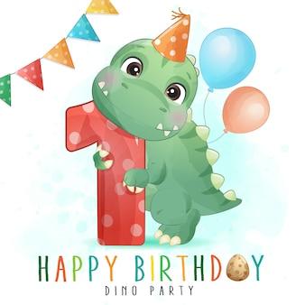 Festa di compleanno sveglia del dinosauro con l'illustrazione di numerazione