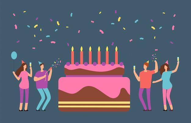 Festa di famiglia di buon compleanno con celebrando persone felici e grande torta. invito festa di compleanno aziendale dei cartoni animati