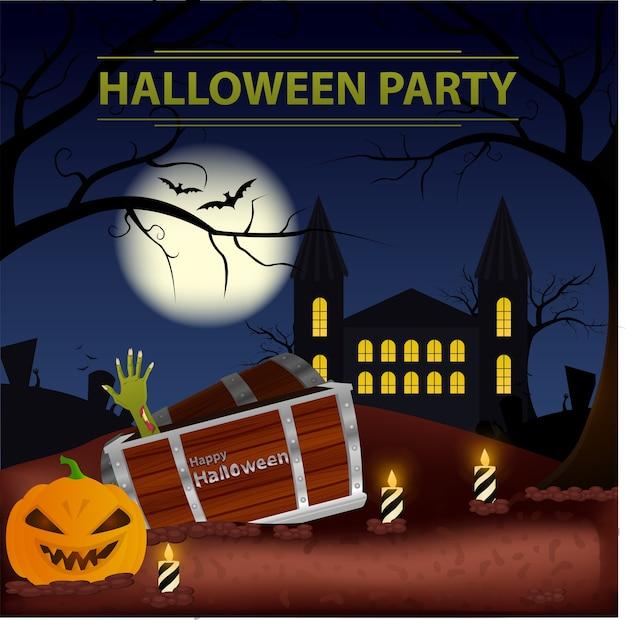 Festa di halloween con zombie, zucca, pipistrelli e candele