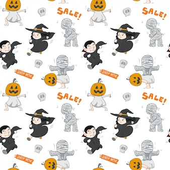 Festa di halloween disegnata a mano senza cuciture molto carattere emozione