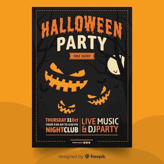 Festa di halloween felice con poster di zucche di smiley
