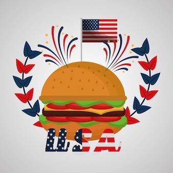 Festa di indipendenza americana di hamburger fuochi d'artificio celebrazione