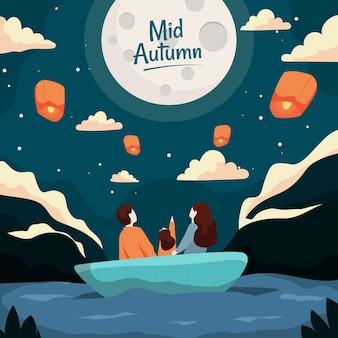 Festa di metà autunno con persone e luna