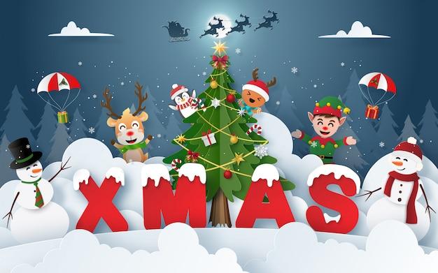 Festa di natale con personaggi natalizi nella foresta