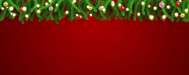 Festa di natale e felice anno nuovo banner sfondo rosso.