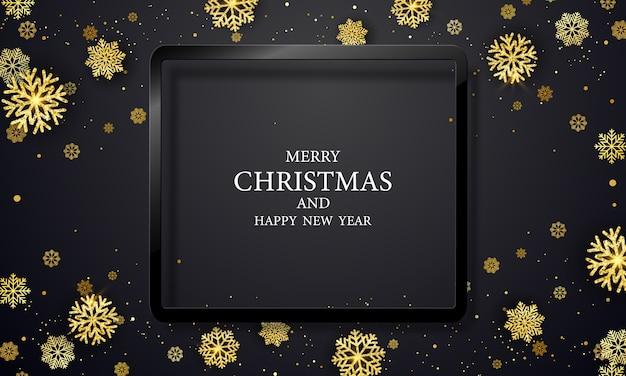 Festa di natale e felice anno nuovo sfondo nero.