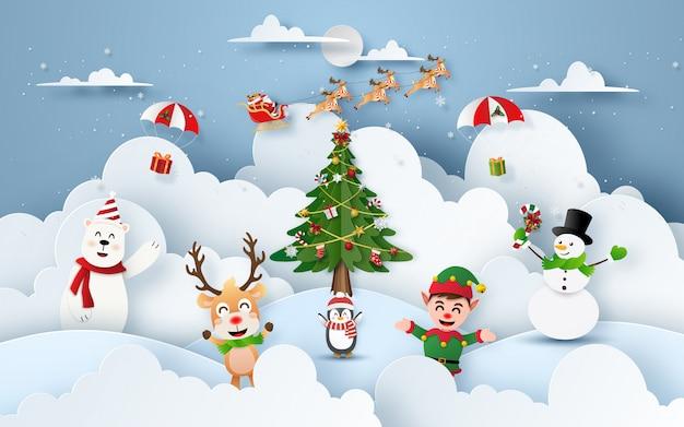 Festa di natale in montagna di neve con babbo natale e personaggi natalizi