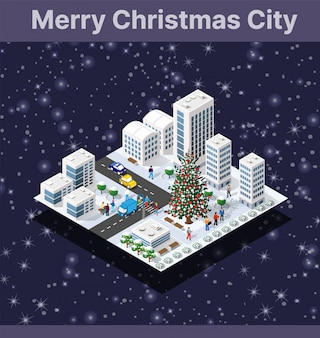 Festa di natale inverno città grafica