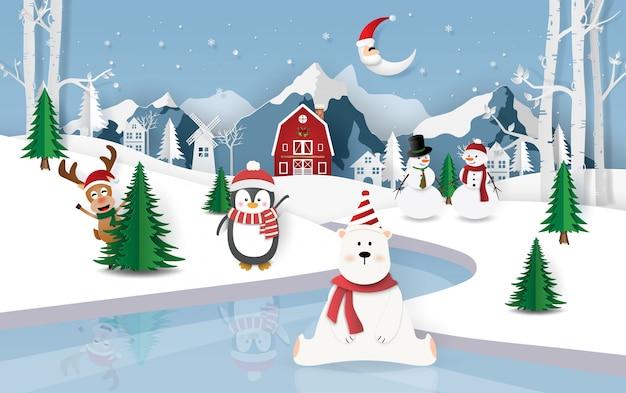 Festa di natale nella città di neve