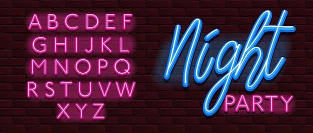 Festa di notte della parete dei mattoni di fonte tipografica al neon dell'alfabeto della fonte