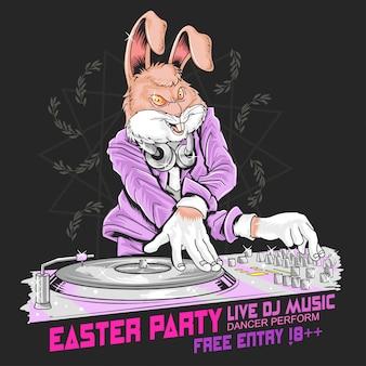 Festa di pasqua con coniglio e dj