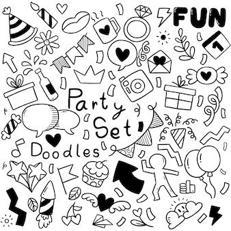 Festa disegnata a mano doodle buon compleanno ornamenti