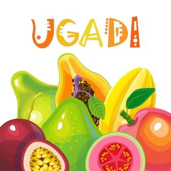 Festa felice della cartolina d'auguri del nuovo anno indù di ugadi e di gudi padwa