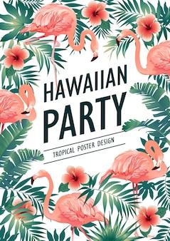 Festa hawaiana illustrazione vettoriale di uccelli tropicali, fiori, foglie.