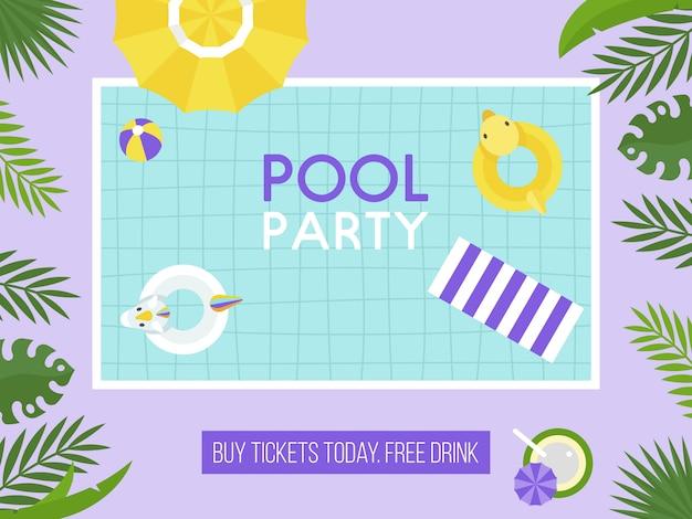 Festa in piscina, vista dall'alto vettore della piscina