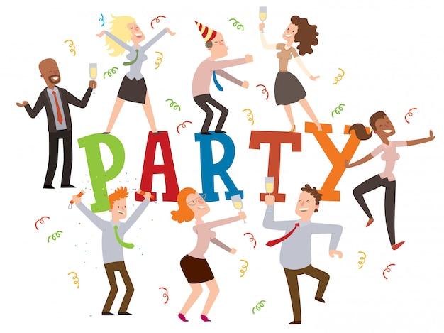 Festa in ufficio. tipografia con gente che balla, personaggi dei cartoni animati divertenti, dipendenti aziendali che celebrano. festa di compleanno al lavoro