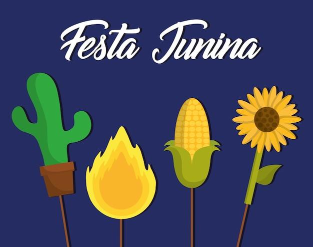 Festa junina card con relative icone