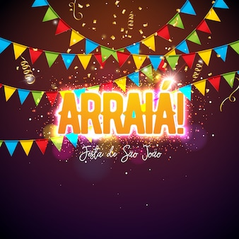 Festa junina design with party flags and typography letter