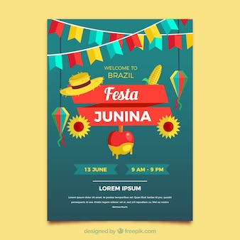 Festa junina flyer in stile piatto