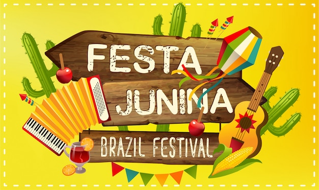 Festa junina illustrazione tradizionale brasile giugno festa festa. vacanza latino-americana.
