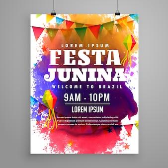 Festa junina invito modello di design flyer