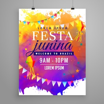 Festa junina party celebrazione invito design flyer