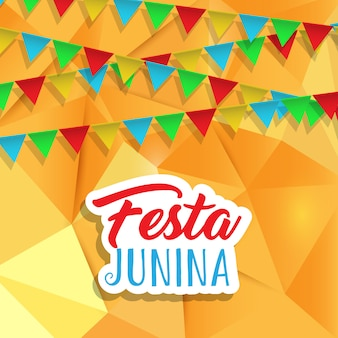 Festa junina sfondo con banner sul design low poly