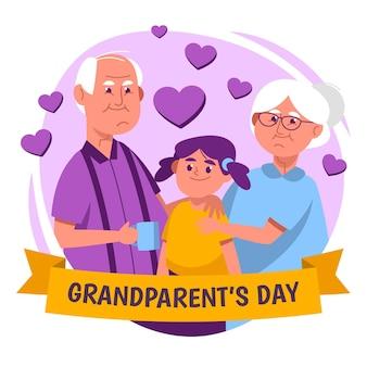 Festa nazionale dei nonni con coppia e nipote
