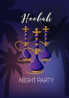 Festa notturna narghilè con narghilè, testo, palme sul tramonto cielo scuro.