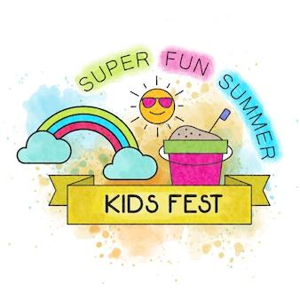 Festa per bambini. acquerello divertente banner estivo