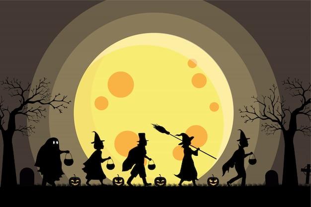 Festa per bambini della siluetta dei bambini di halloween e fondo della grande luna
