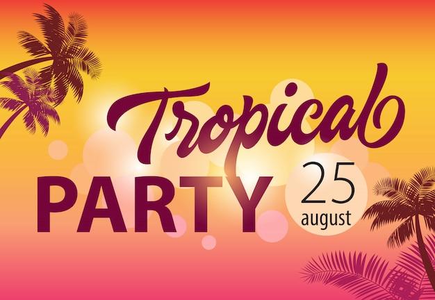 Festa tropicale, agosto venticinque volantino con sagome di palme e tramonto sullo sfondo.