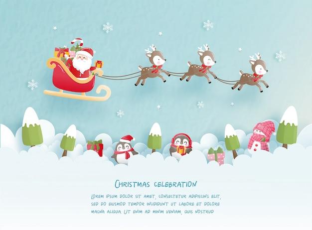 Feste di natale con babbo natale carino e renne per la cartolina di natale in stile taglio carta. illustrazione vettoriale