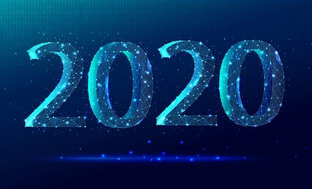 Festeggia il background tecnologico del nuovo anno 2020 in colori di tendenza con numeri e triangoli con scintille.