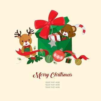 Festeggia il festival di natale. bambole carine e decorazioni natalizie.