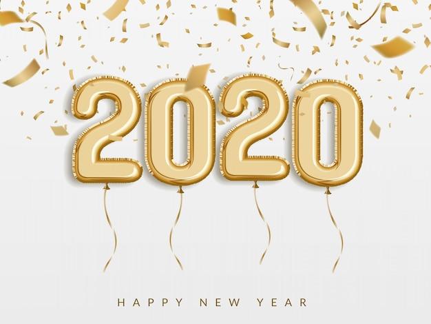 Festeggia il nuovo anno 2020, palloncini in lamina d'oro con numeri e coriandoli. 3d realistico