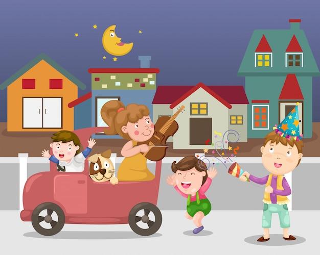 Festeggia il vettore di strada cittadina