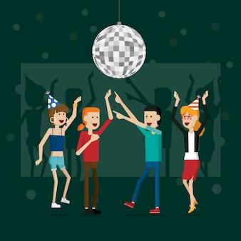 Festeggia persone felici di anno nuovo e festeggia feste