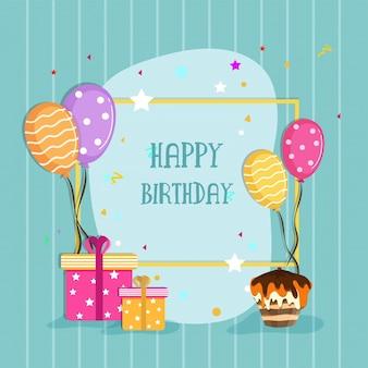 Festeggiamenti di buon compleanno con palloncini colorati, scatole da regalo e torta.