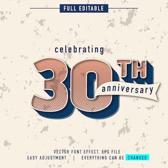 Festeggiamo l'effetto testo del 30 ° anniversario