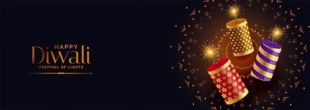 Festival crackers con scintillii per felice diwali