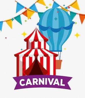 Festival del circo con mongolfiera e decorazione banner festa