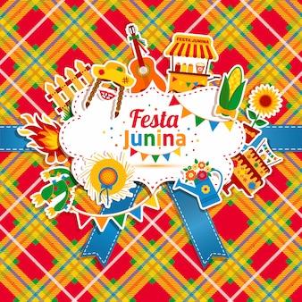 Festival del villaggio festa junina in america latina. icone impostate in colori vivaci. decorazione in stile piatto