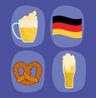 Festival dell'oktoberfest, birre con bandiera delle icone e pretzel, illustrazione tradizionale di celebrazione