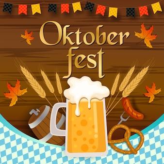 Festival dell'oktoberfest con tavola di legno e bevande e cibo.