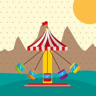 Festival della fiera del carnevale della città della tenda della ruota panoramica