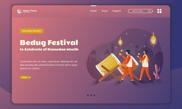 Festival di bedug per celebrare il kareem del ramadan sul modello della pagina di destinazione