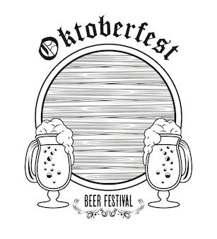 Festival di celebrazione dell'oktoberfest con botte di legno e tazze di birra.
